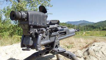 Photo free machine gun, sight, trigger