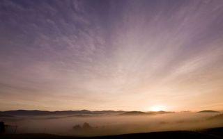 Фото бесплатно пейзажи, рассвет, туман