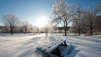 Бесплатные фото зима,снег,сугробы,лавочка,мороз,солнце,деревья