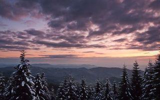 Бесплатные фото зимний пейзаж,горы,закат,небо,облака,елки,снег