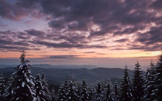 Фото бесплатно зимний пейзаж, горы, закат