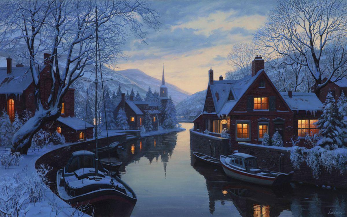 Фото бесплатно chapel, lushpin, eugeny lushpin, winter, snow, an old inn by the river, houses, painting, trees, разное