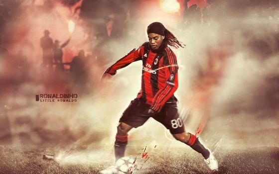 Photo free Milan, the Brazilian Ronaldinho, ball