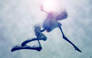 Бесплатные фото свет,робот,частицы,растворение