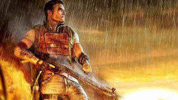 Бесплатные фото человек,воин,автомат,доспехи,форма,дождь,огонь