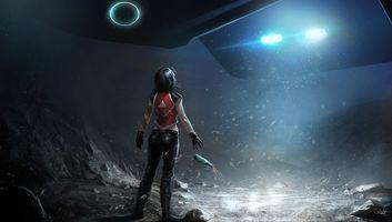 Бесплатные фото девушка,космический корабль,самолет,свет,огни,ночь,бутылка