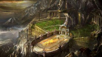 Заставки горы, стройка, арена