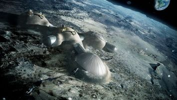 Обои луна, Земля, космос, дом, спутник, планета, экскаватор, люди, наука, техника, ЕКА, ESA