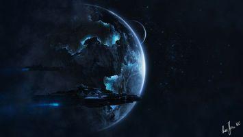 Бесплатные фото планета, туманность, корабли, звезды, галактика, свет, лучи