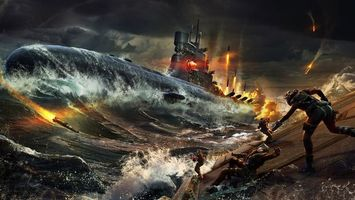 Бесплатные фото подводная,лодка,море,океан,волны,вода,ракета