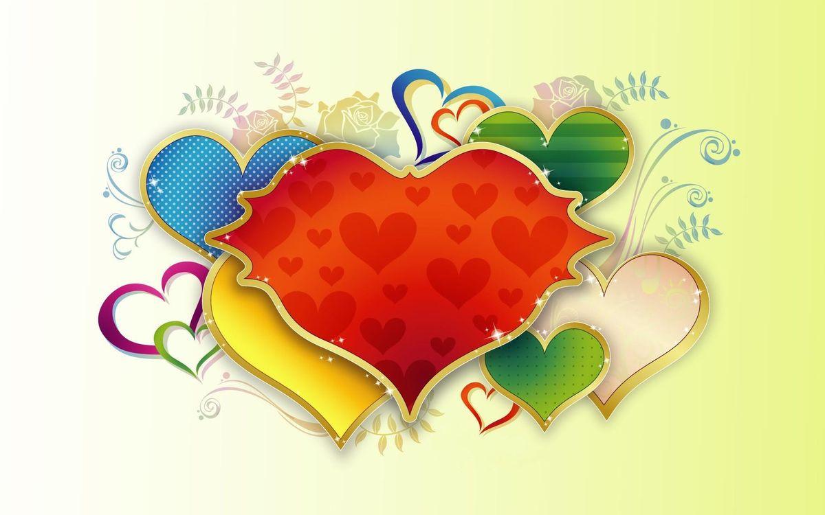Фото бесплатно сердечки, узоры, рисунок, листья, ветки, фон, желтый, разное, разное