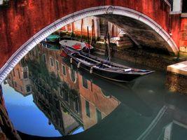 Заставки венеция, лодка, река, вода, отражение, дома, мост