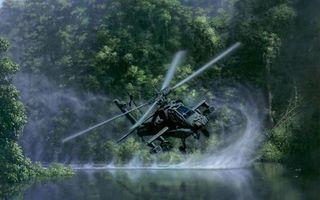 Бесплатные фото вертолет, военный, винты, полет, река, брызги, лес