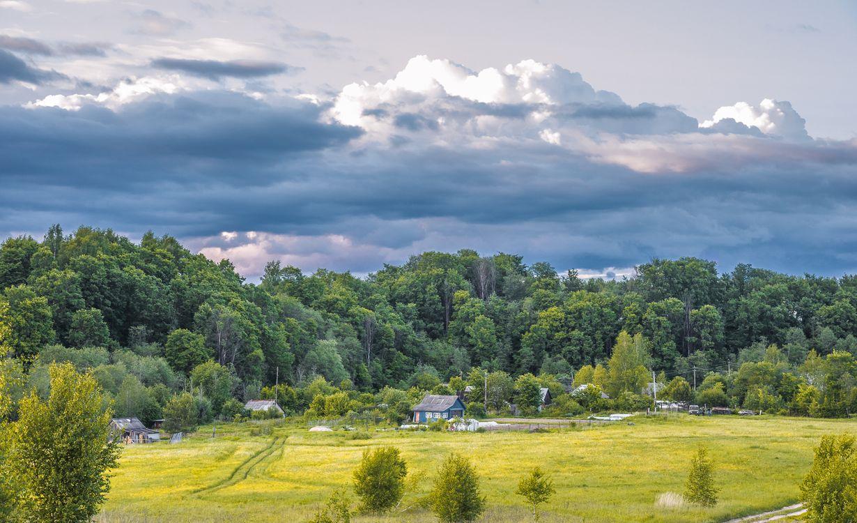 Фото бесплатно деревня, домики, теплица, лето, небо, облака, деревья, трава, кусты, пейзаж, природа, машина, УАЗик, люди, пейзажи