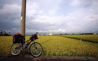 Photo free pillar, bicycle, field