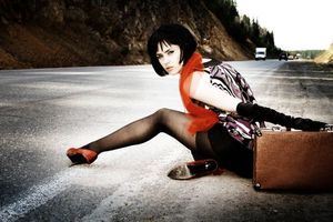 Photo free hitch-hiking, girl, road
