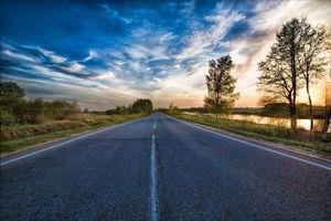 Бесплатные фото закат, дорога, деревья, пейзаж