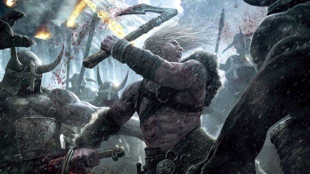 Бесплатные фото бой,воины,рыцари,доспехи,оружие,факелы,кровь