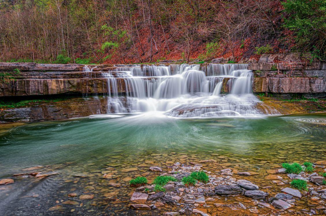 Фото бесплатно осень, река, водопад - на рабочий стол