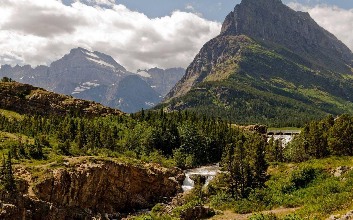 Фото бесплатно река, трава, вершины - на рабочий стол