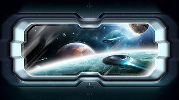 Бесплатные фото космический корабль,иллюминатор,нло,тарелки,планеты,космос