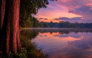 Бесплатные фото вечер,берег,деревья,трава,озеро,небо,облака