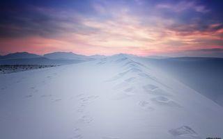 Бесплатные фото зима, снег, сугробы, следы, вечер