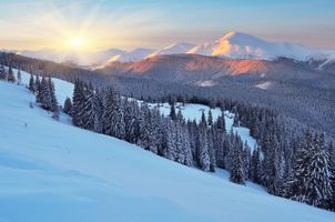 Бесплатные фото зима,закат,снег,сугробы,горы,деревья,пейзаж