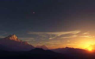 Бесплатные фото горы,скалы,вершины,солнце,закат,небо,звезда