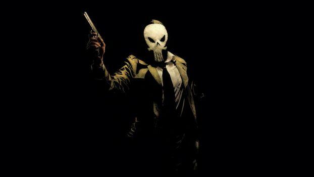 Фото бесплатно каратель Noir, маска, ствол