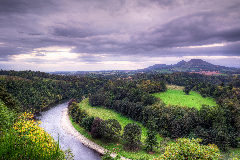 Обои Шотландские границы, Великобритания, река, поля