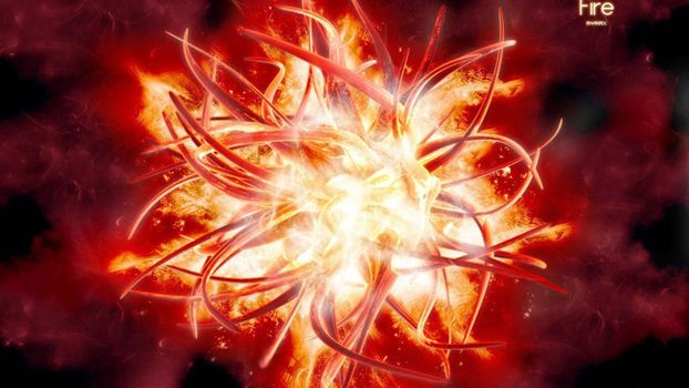 Фото бесплатно огненный цветок, линии, огонь