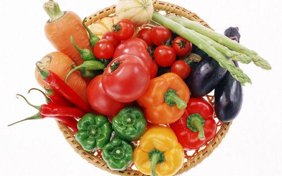 Photo free vegetables, basket, asparagus