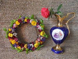 Фото бесплатно винок, ваза, роза