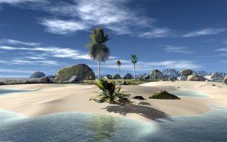 Заставки графика,остров,горы,камни,песок,пальмы,море