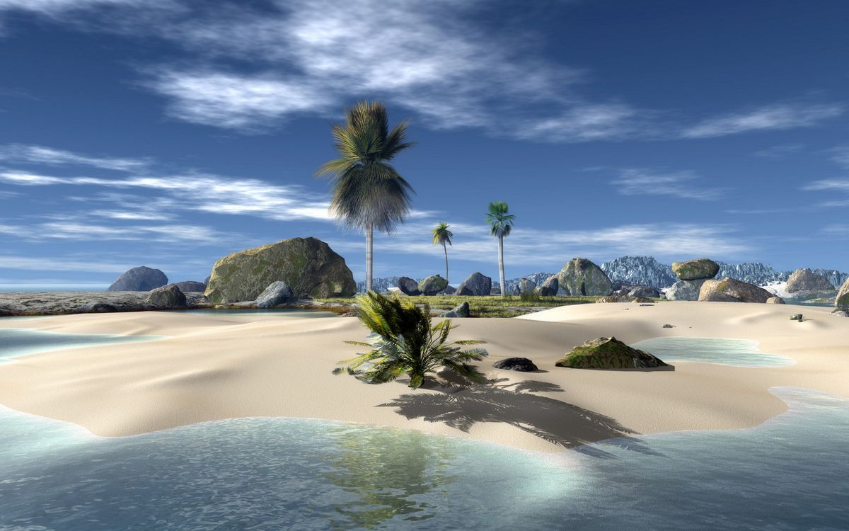 Фото бесплатно графика, остров, горы, камни, песок, пальмы, море, небо, облака, разное