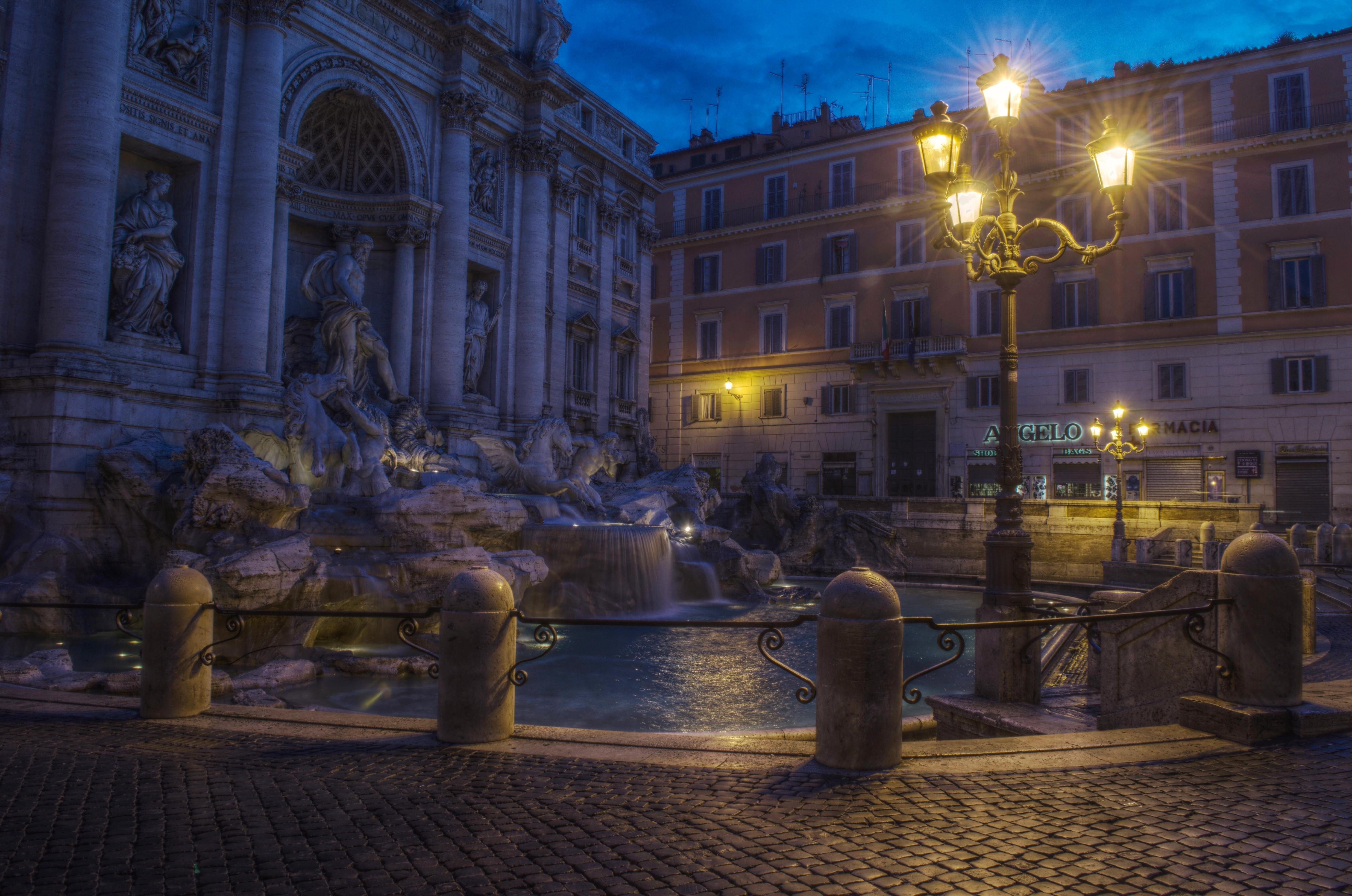обои Рим, Фонтан Треви, город, ночь картинки фото