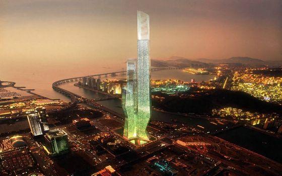 Фото бесплатно небоскреб голограмма, ночной город