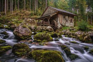 Бесплатные фото водяная мельница,река,поток,лес,деревья,камни,пейзаж