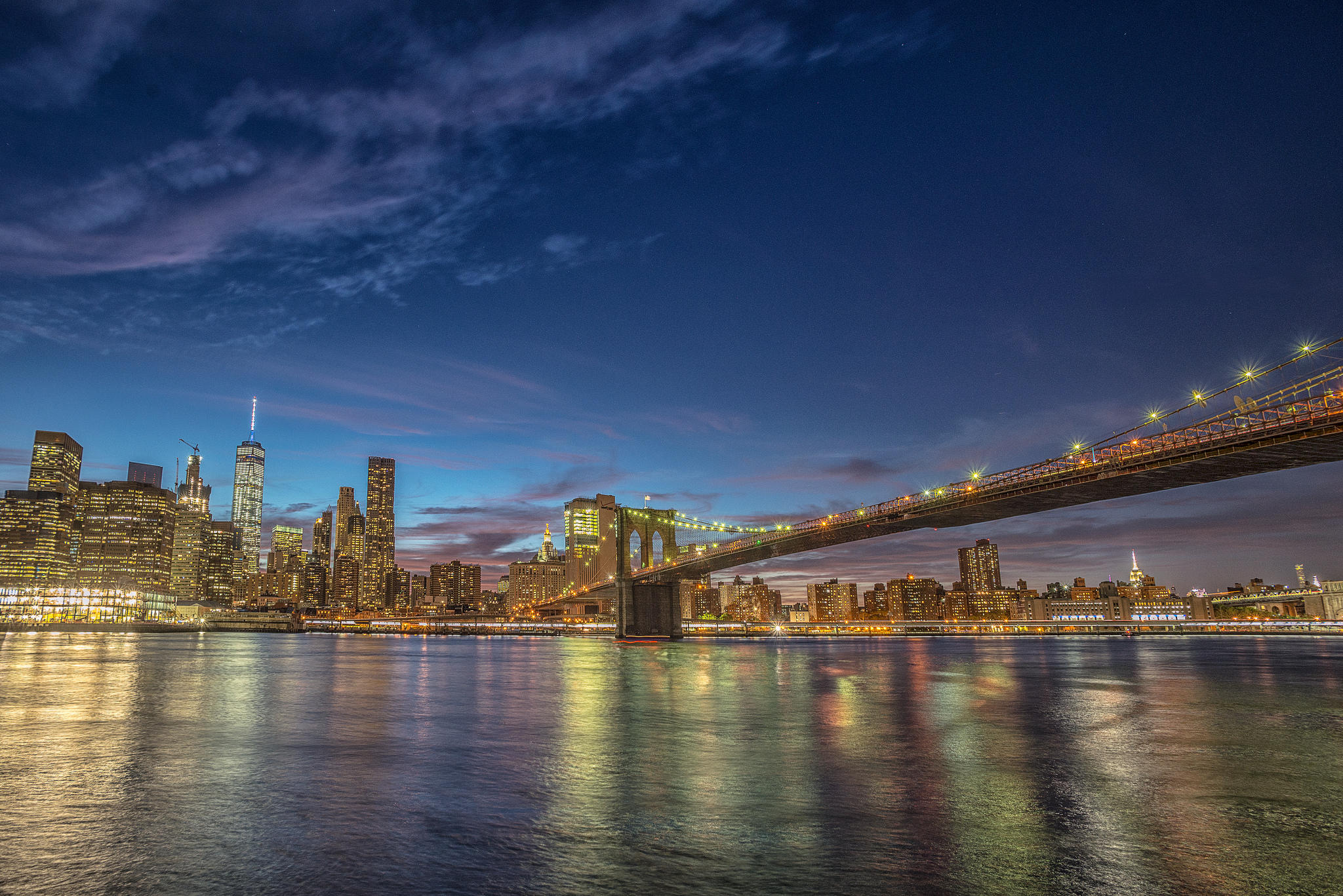 обои Manhattan, Brooklyn Bridge, One World Trade Center картинки фото