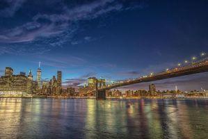 Фото бесплатно Manhattan, Brooklyn Bridge, One World Trade Center