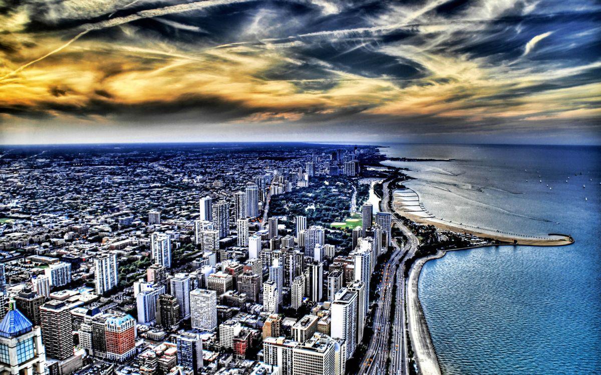 Фото бесплатно море, побережье, дорога, машины, улицы, дома, здания, вид сверху, город