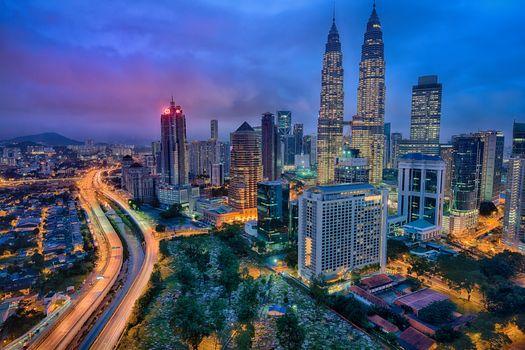 Заставки Kuala Lumpur, город, ночь