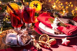 Photo free New Year s still-life, tea with lemon, New year wallpapers