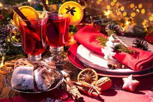 Фото бесплатно Новогодний натюрморт, чай с лимоном, новогодние обои
