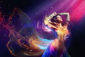 Обои девушка, модель, красивое платье, танец, настроение, стиль