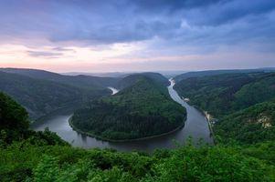 Фото бесплатно река Саар, Петля реки Саар в Метлахе, Германия