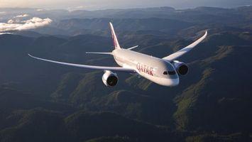 Заставки самолет,пасажирский,крылья,турбины,полет,земля,горы
