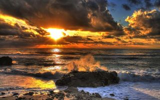 Фото бесплатно закат, брызги, море