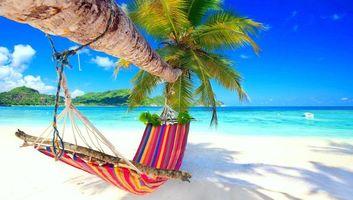 Бесплатные фото море,остров,пальма,пляж,гамак,пейзаж